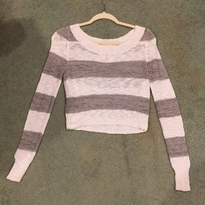Sweaters - Grey and white striped sweater